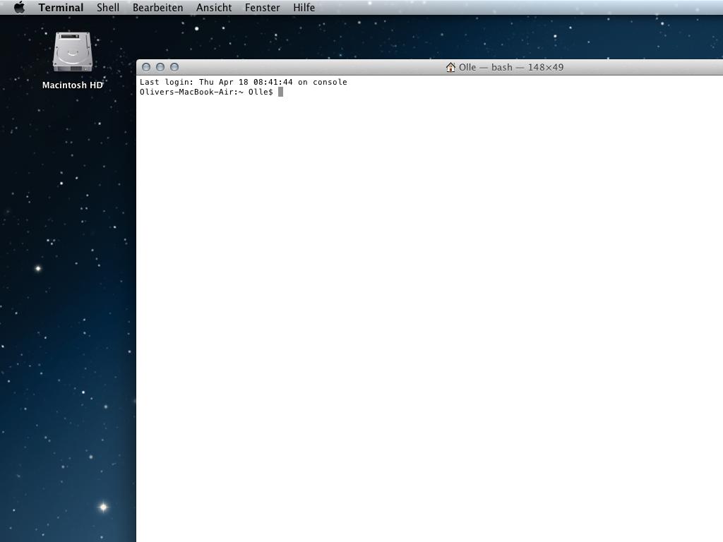 Befehle unter Mac OS X in der Terminal-Konsole eingeben