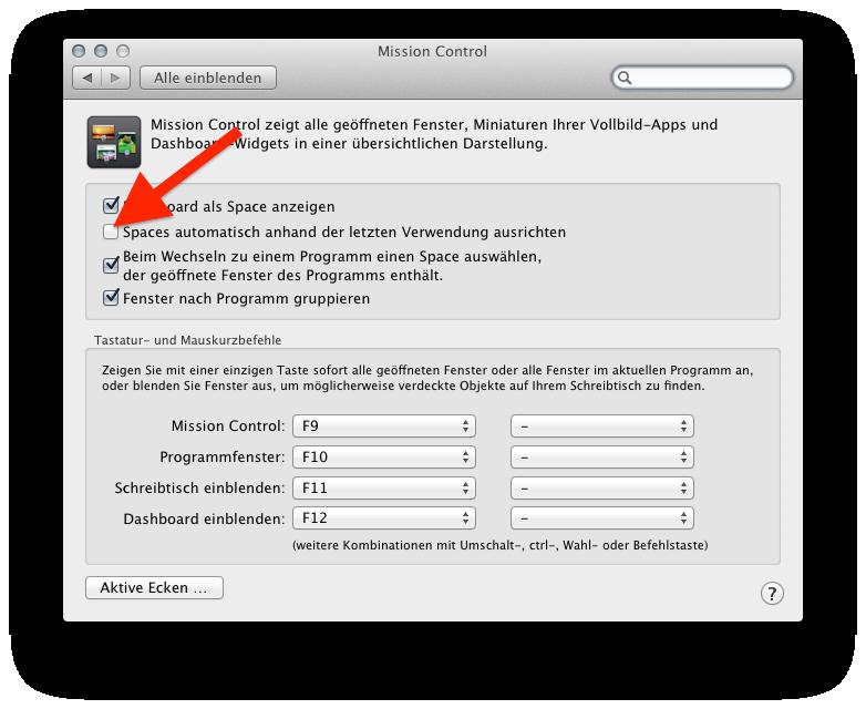 Schreibtischeinstellungen (Spaces) Mission Control Mac OS X ändern