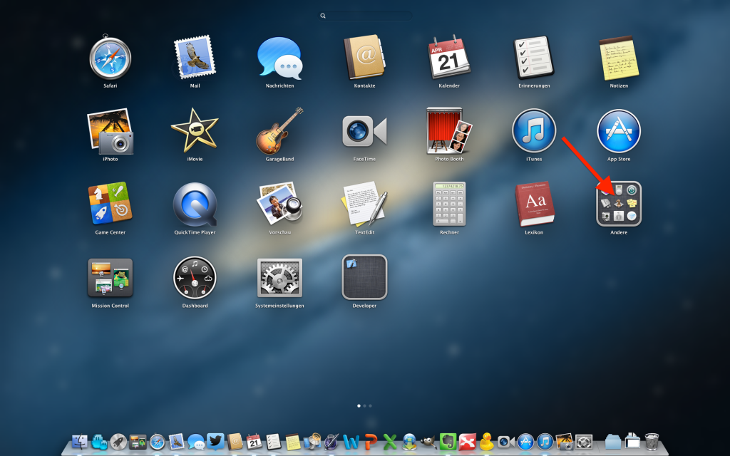 Launchpad Mac OS X Ordner Andere öffnen