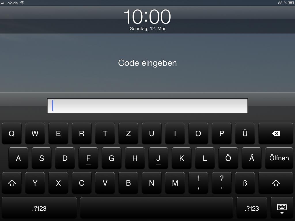 Erweiterten Sperr-Code bei Anmeldung unter iOS eingeben