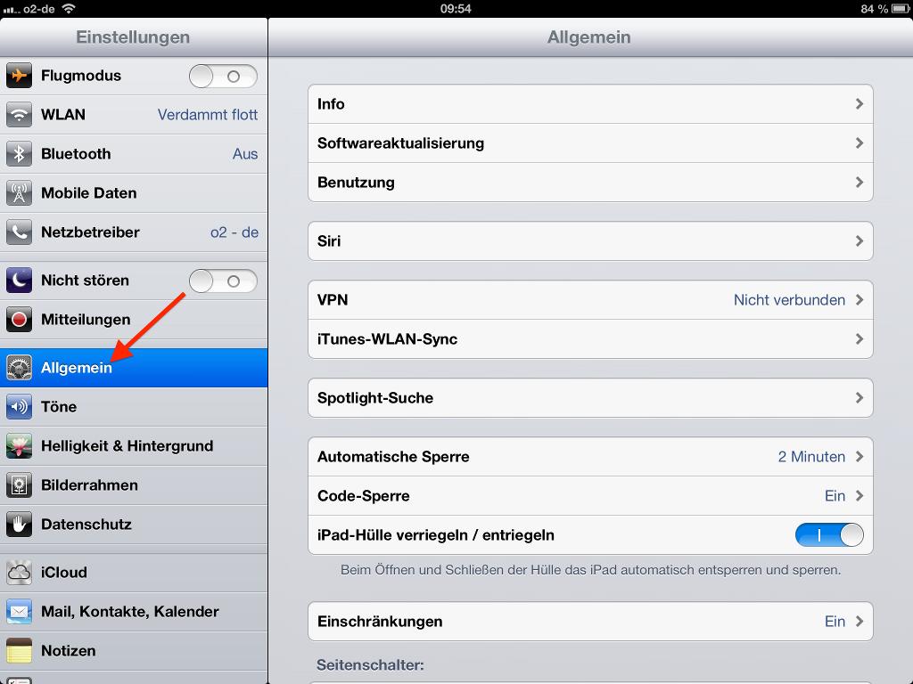 Systemeinstellungen Allgmein unter iOS aufrufen