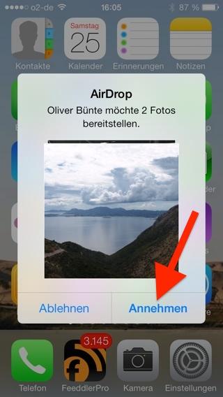 Bildübertagung via AirDrop auf einem iPhone annehmen