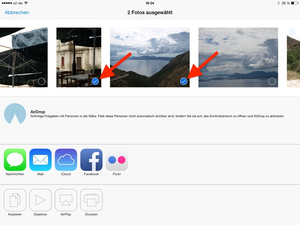 Fotos in Fotos App auswählen