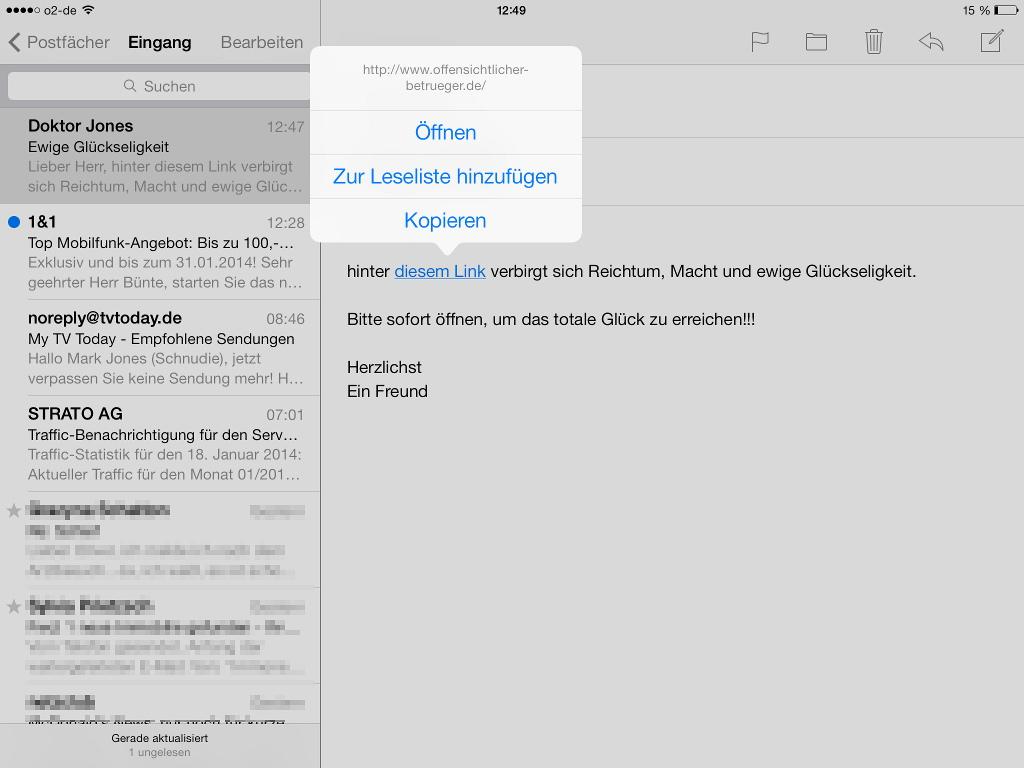 Link-Ziel vorab auf iPad anzeigen