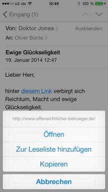 Link-Ziel vorab auf iPhone anzeigen