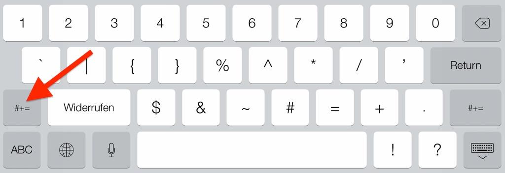 Tastaturansicht für Wiederholen-Taste auf dem iPad einblenden