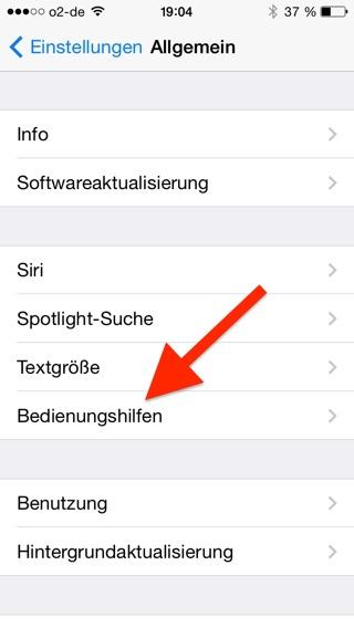 Bedienungshilfen iPhone auswählen