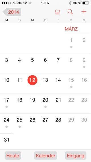 Tastenformen Kalender aktiv