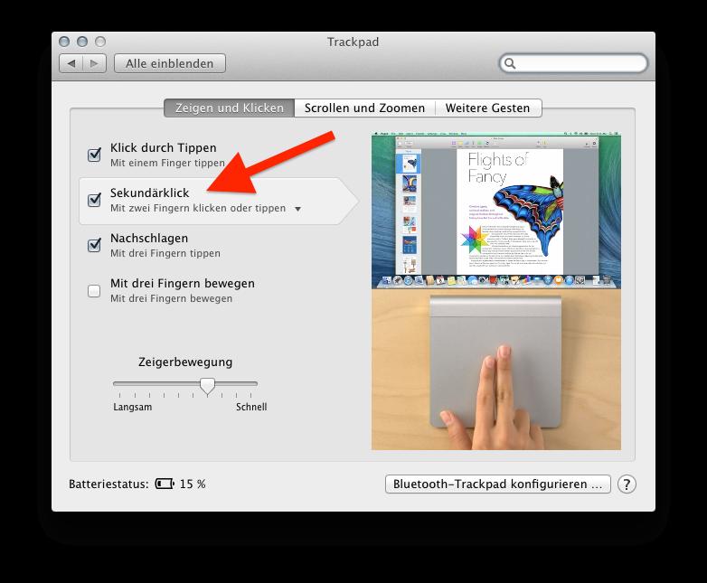 Einstellungen Zwei-Finger-Tap Apple Magic Tackpad