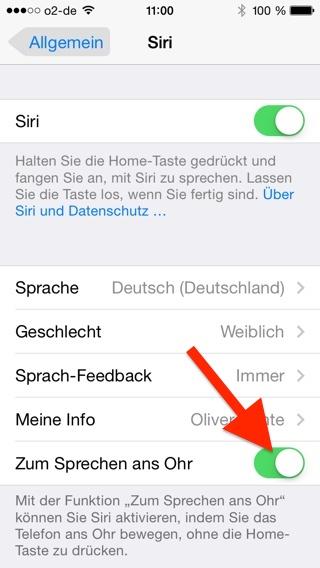 Siri Zum Sprechen ans Ohr deaktivieren