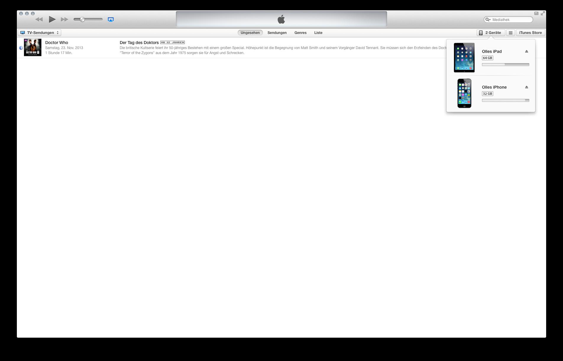 iPad unter iTunes auswählen