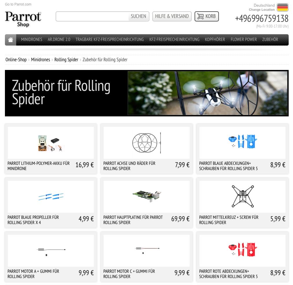 Ersatzteilpreise Parrot Rolling Spider deutscher Shop