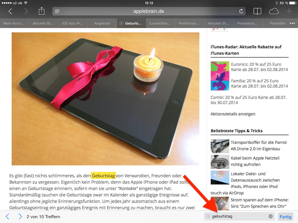 Navigationsleiste der Suche auf dem iPad im Mobile Safari Browser