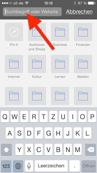 Suchbegriff in Adresszeile des Mobile Safari Browsers des iPhones eingeben