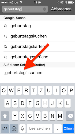 Suchbegriff in Mobile Safari Browser auswählen