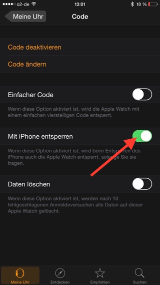 Mit iPhone entsperren in Apple Watch App aktivieren