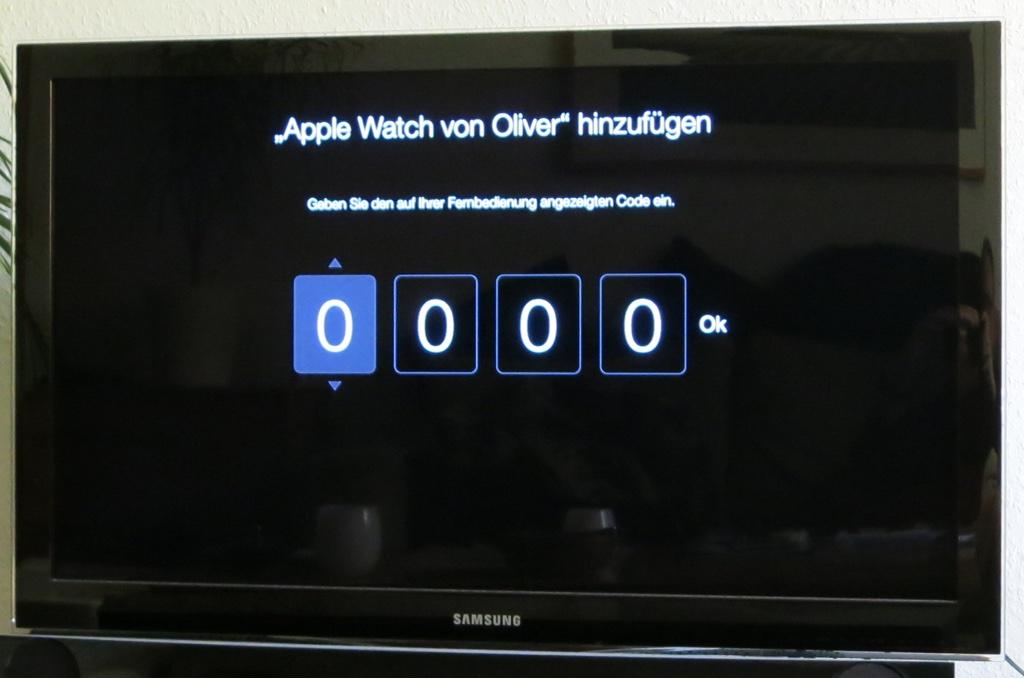 Verbindungscode zur Koppelung von Apple Watch und Apple TV eingeben