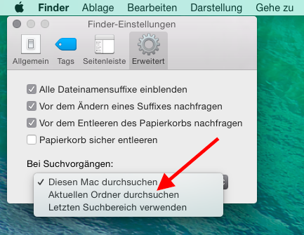 Suchordner Spotlight in Finder ändern