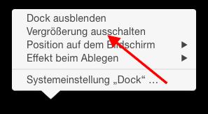 Vergrößerung des Docks ausschalten