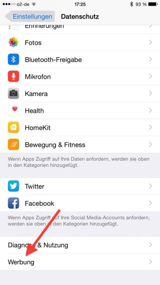 Einstellungen iPhone Werbung aufrufen