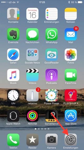Einstellungen iPhone öffnen