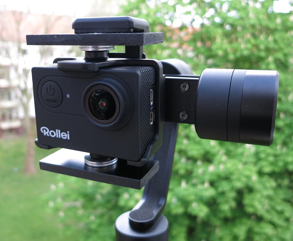 Actioncam Smartphone-Gimbal eingeklemmte Kamera