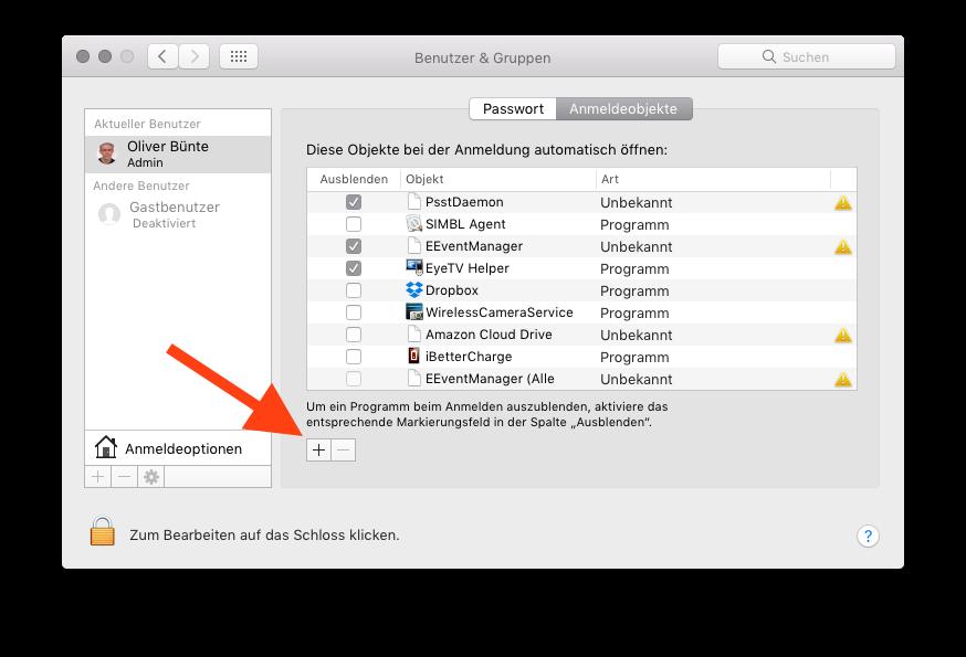 Autostart einer App auf dem Mac einrichten Autostart-Programm hinzufuegen