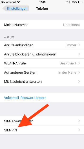 SIM-Karte unter iOS nachträglich entsperren SIM-PIN