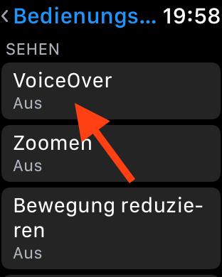 Siris Sprachausgabe auf der Apple Watch mit Voiceover simulieren Aktivierung 04