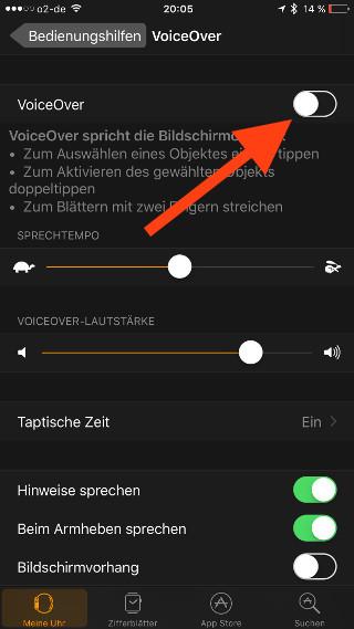 Siris Sprachausgabe auf der Apple Watch mit Voiceover simulieren Aktivierung iOS 05