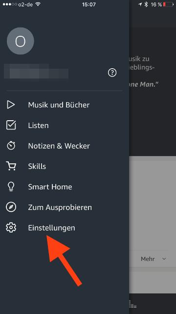Amazon Echo iCloud-Kalender Einstellungen aufrufen