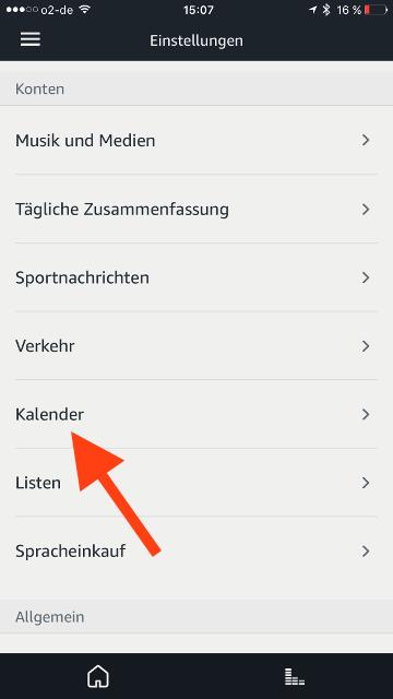 Amazon Echo iCloud-Kalender Kalender waehlen