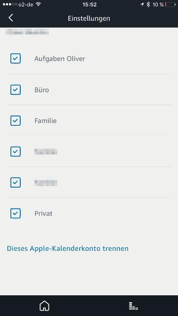 Amazon Echo iCloud-Kalender Kalenderliste