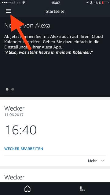 Amazon Echo iCloud-Kalender Sandwich-Menue oeffnen