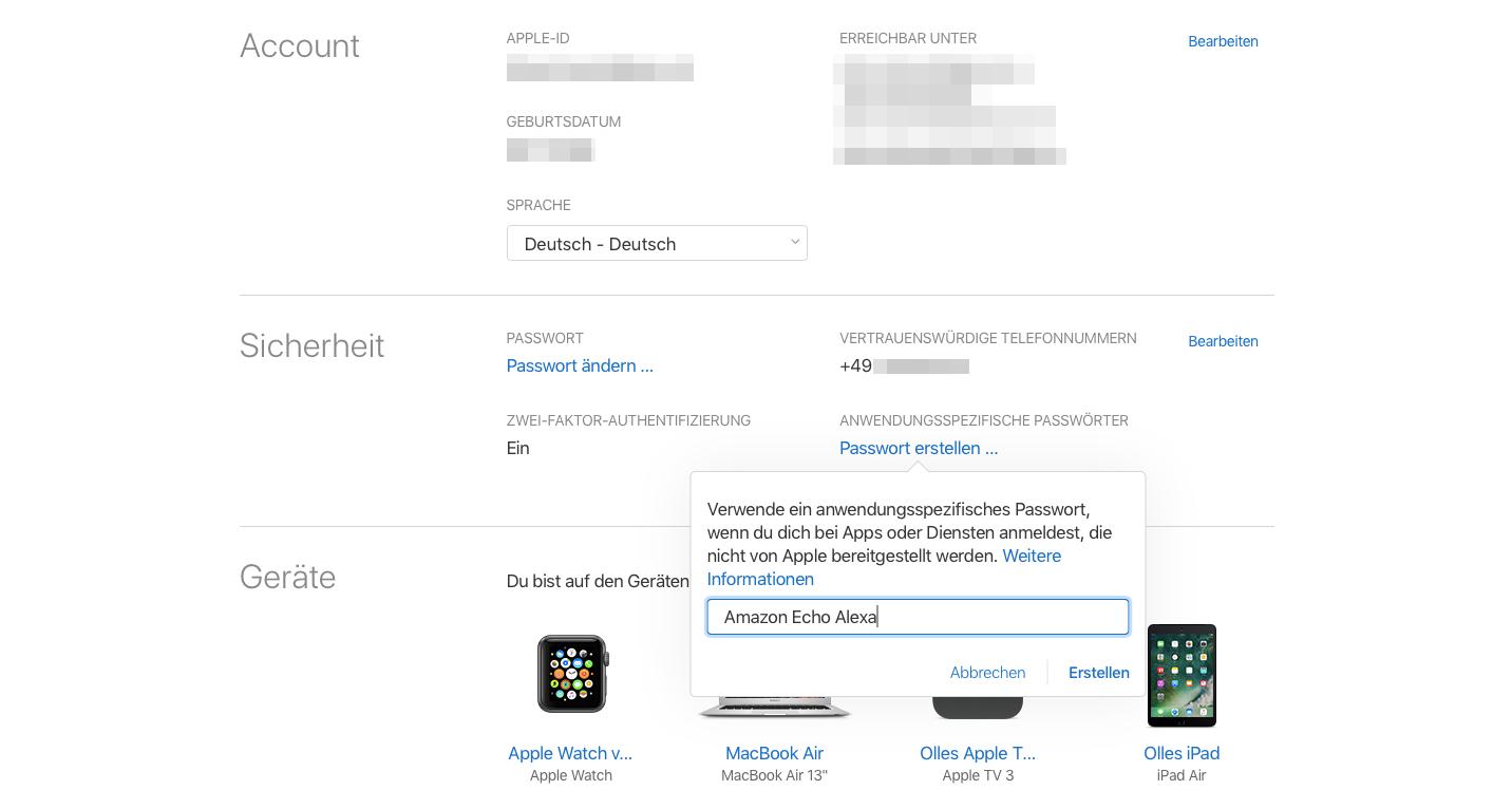Anwendungsspezifische iCloud-Passwoerter Namen eingeben