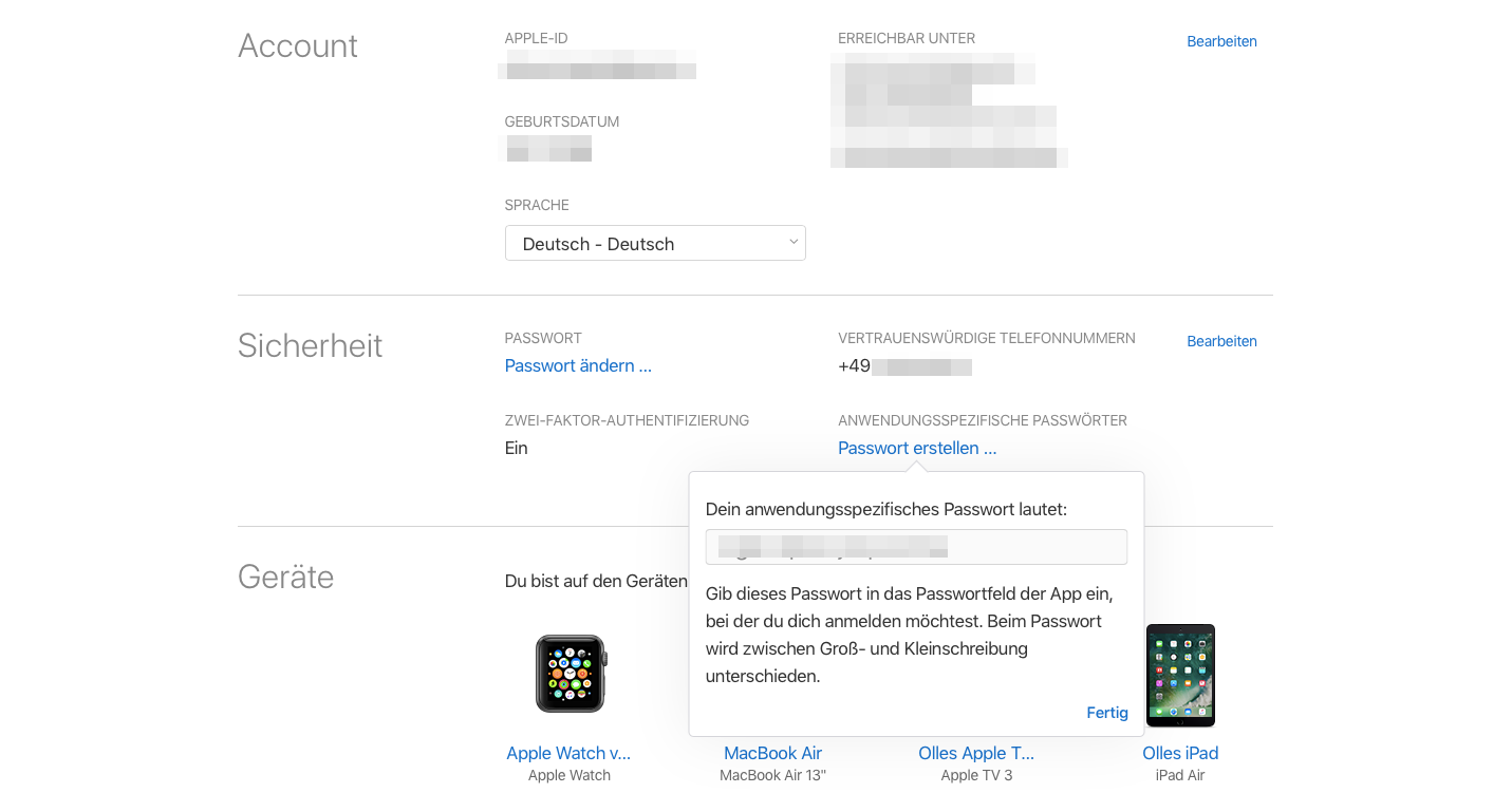 Anwendungsspezifische iCloud-Passwoerter Passwort ausgeben