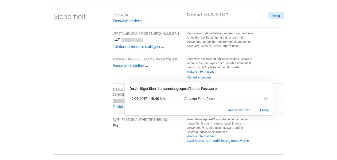 Anwendungsspezifische iCloud-Passwoerter Passwortliste
