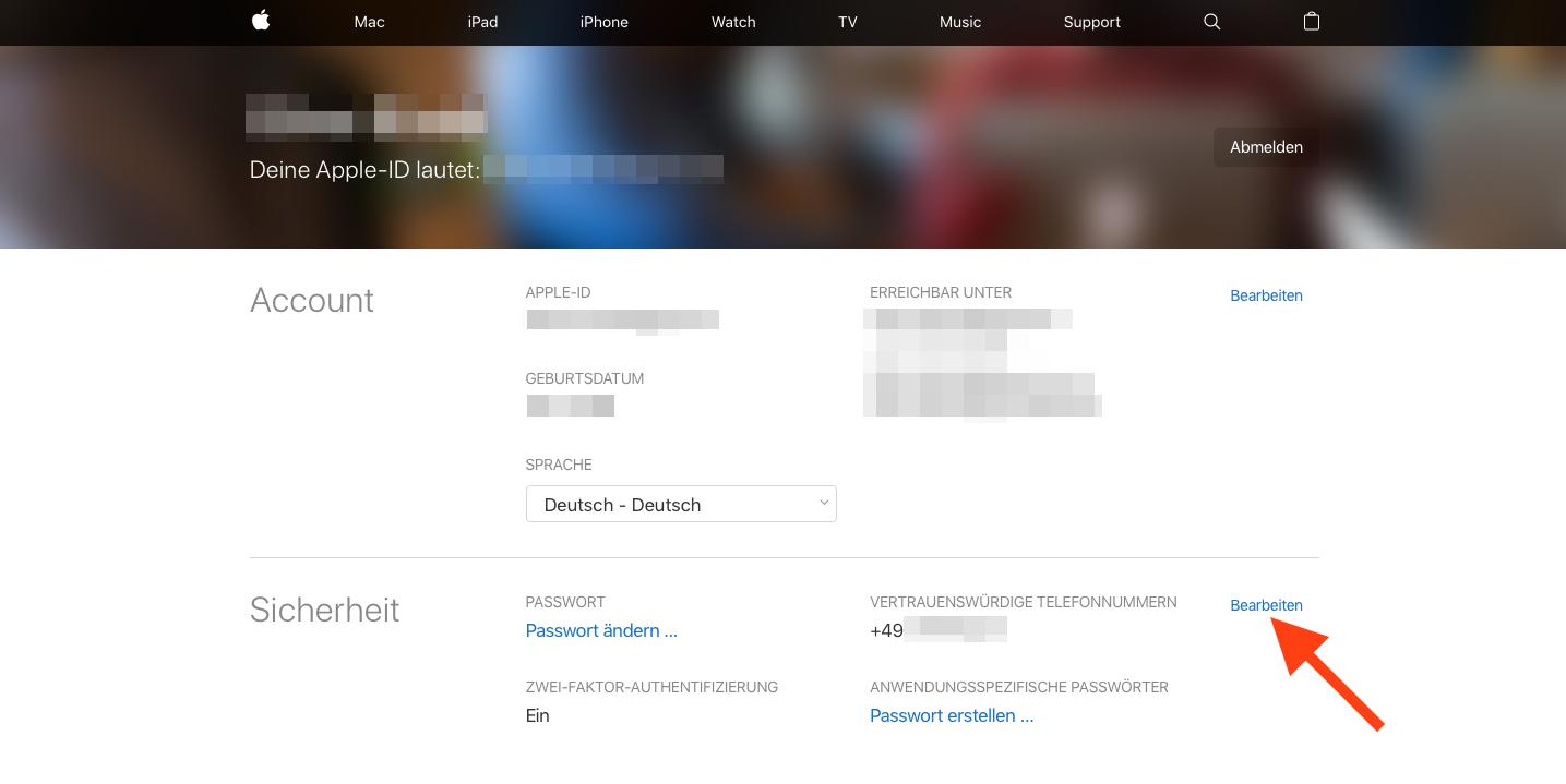 Anwendungsspezifische iCloud-Passwoerter Sicherheit bearbeiten