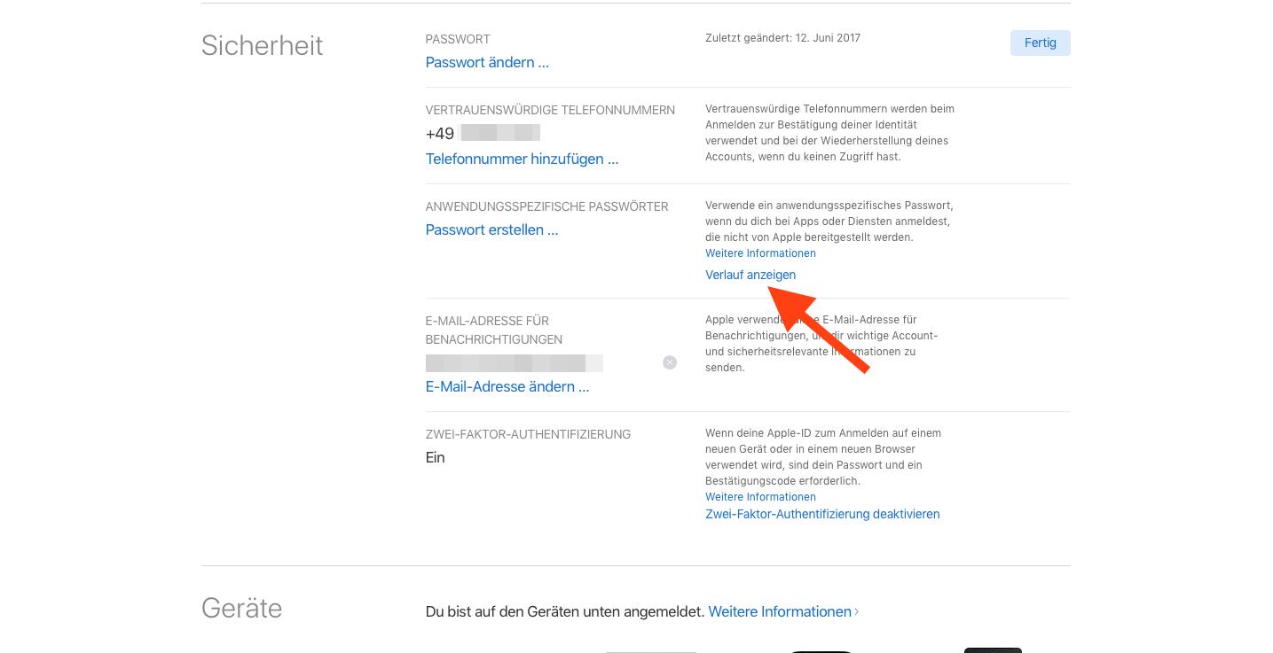 Anwendungsspezifische iCloud-Passwoerter Verlauf waehlen