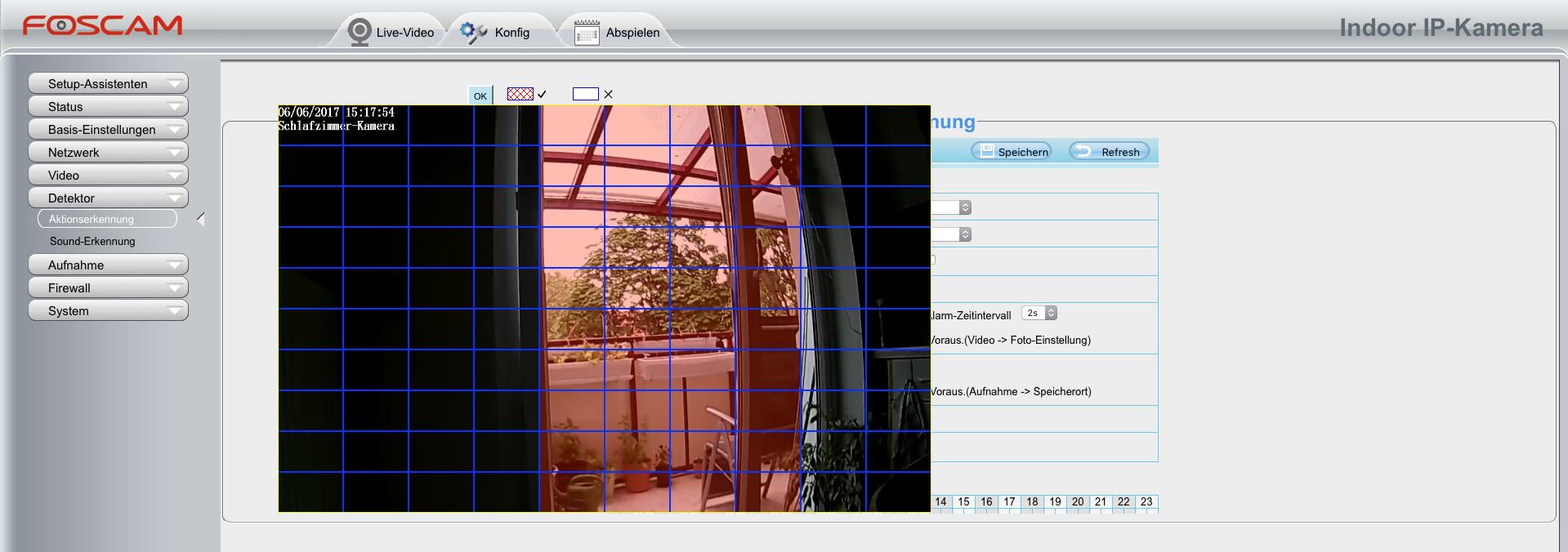 Foscam Alarmeinstellung Bild-Detektor