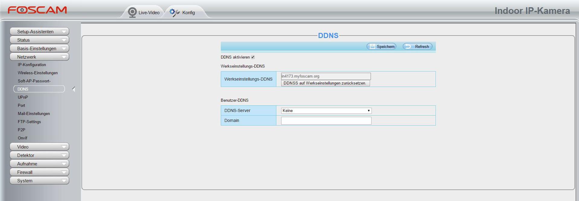 Foscam Alarmeinstellung DDNS