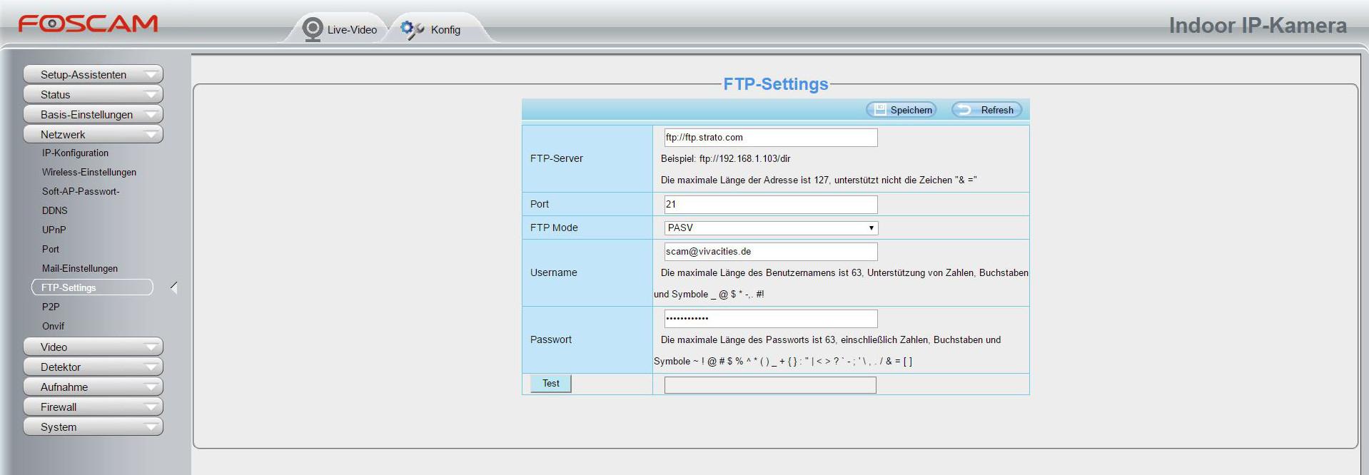 Foscam Alarmeinstellung FTP