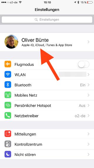 Zwei-Faktor-Authentifizierung iOS Account waehlen