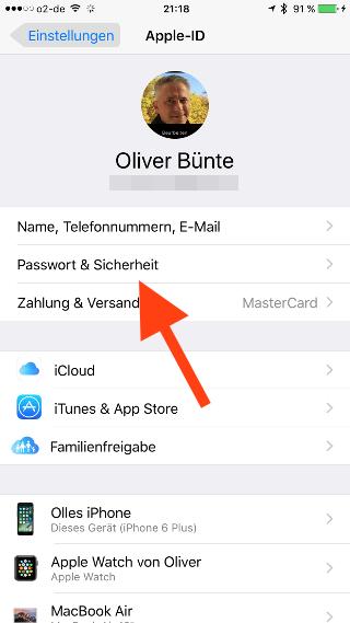 Zwei-Faktor-Authentifizierung iOS Passwort und Sicherheit waehlen