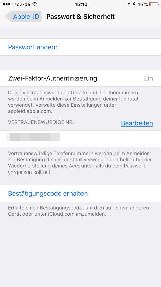 Zwei-Faktor-Authentifizierung iOS Zwei-Faktor-Authentifizierung aktivieren