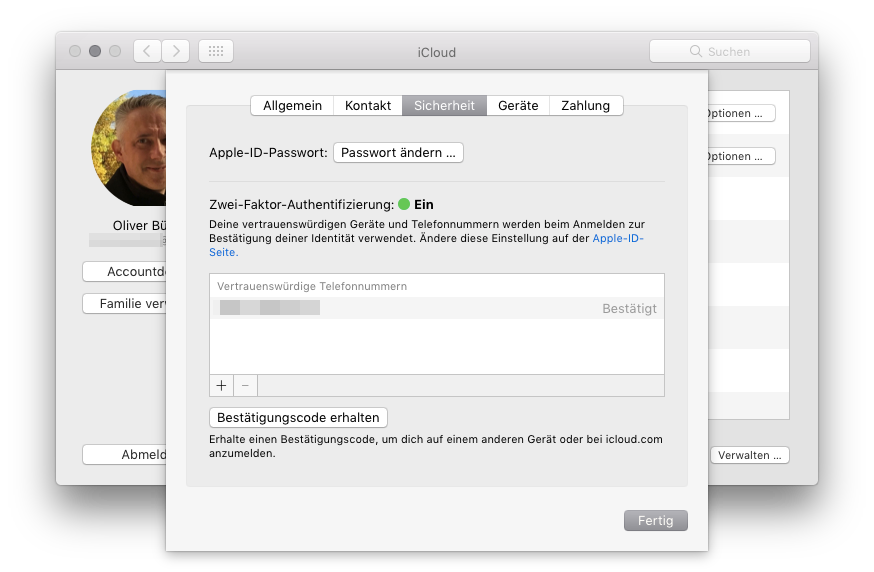 Zwei-Faktor-Authentifizierung macOS Zwei-Faktor-Authentifizierung aktivieren