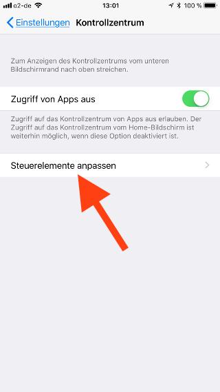 Kontrollzentrum auf dem Apple iPhone und iPad konfigurieren Steuerelemente anpassen