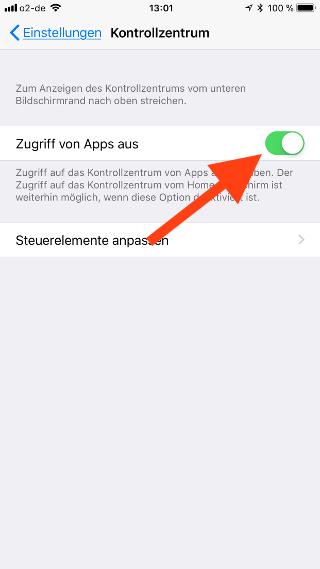Kontrollzentrum auf dem Apple iPhone und iPad konfigurieren Zugriff von Apps aus erlauben