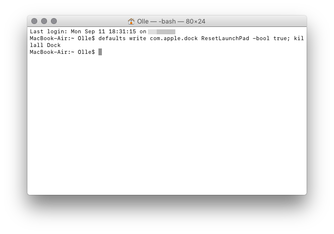 Launchpad zurücksetzen am Mac Terminaleingabe