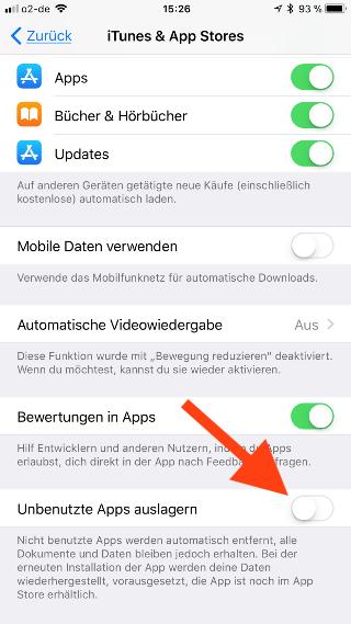 Unbenutzte Apps unter iOS zum Sparen von Speicherplatz auslagern Unbenutzte Apps auslagern